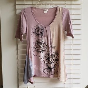 Tops - Mauve flower top